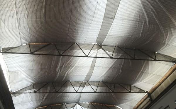 Industriehallen Sanierung in Darmstadt: Auffangnetz Montage