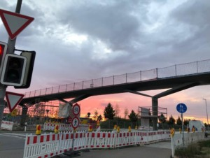 Seitenschutznetz an Brücke in Ingoldstadt
