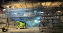Sicherheitsnetze an Neckartal Brücke montiert